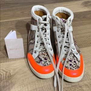 Jimmy Choo Snakeskin Graffiti Sneakers 36.5